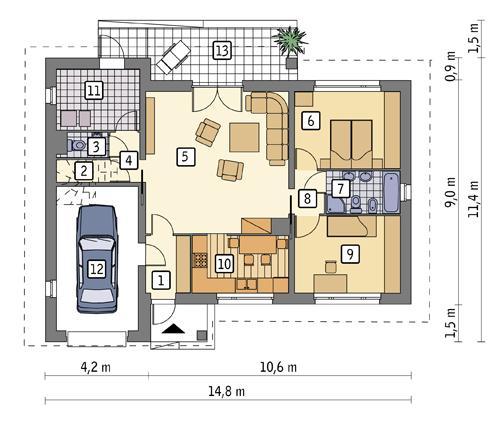 Rzut parteru POW. 110,7 m²
