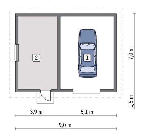 Rzut parteru POW. 53,4 m²