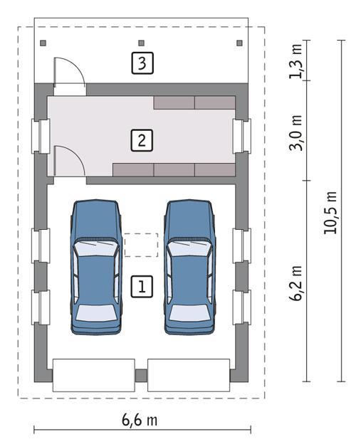 Rzut parteru POW. 46,4 m²