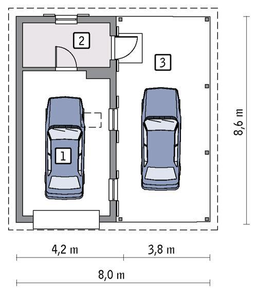 Rzut parteru POW. 28,3 m²
