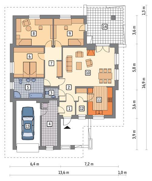 Rzut parteru POW. 142,1 m²