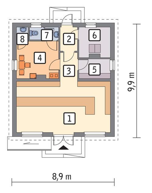Rzut parteru POW. 67,7 m²