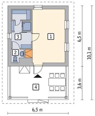 RZUT PARTERU POW. 30,6 m²